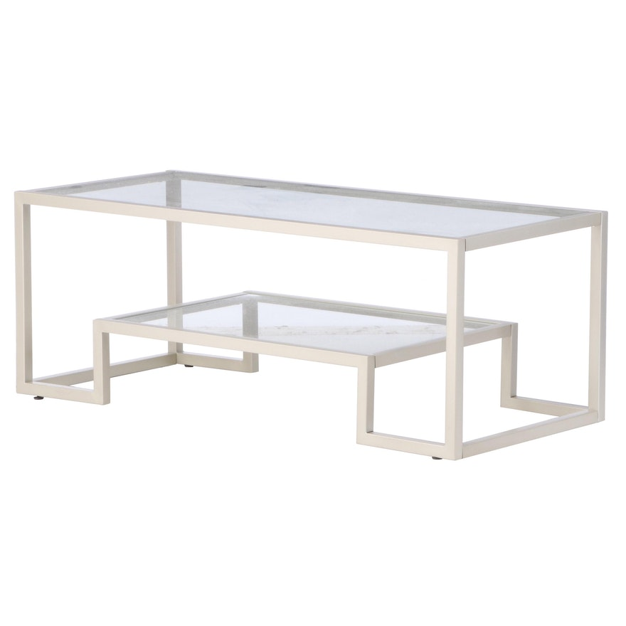 Contemporary Modernist Style Glass Top Brushed Nickel Coffee Table