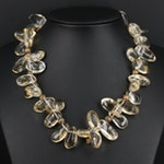 Beaded Citrine Necklace with Sterling Silver Clasp