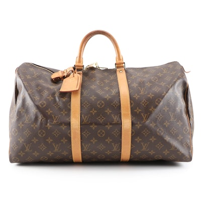 Louis Vuitton Keepall 50 Duffle in Monogram Canvas and Vachetta Leather