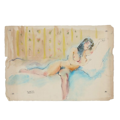 Rene Bouche Ink and Watercolor Painting, 1942