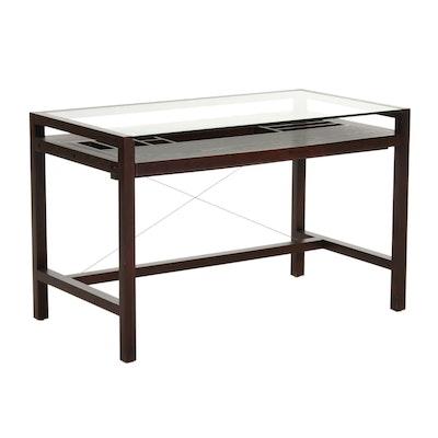 Modernist Style Glass Top Computer Desk with Keyboard Tray & Organizer Shelf