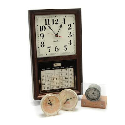 Seth Thomas Calendar Clock with Assorted Table Clocks