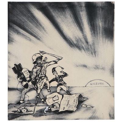 """Political Ink Illustration """"Ginevra"""", 1955"""