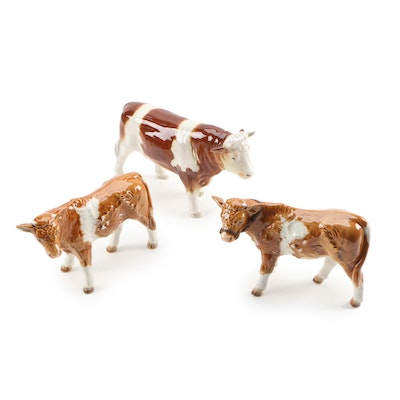 Goebel Cow and Bull Porcelain Figurines, 1970s