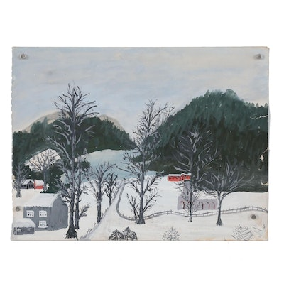 Winter Landscape Gouache Painting