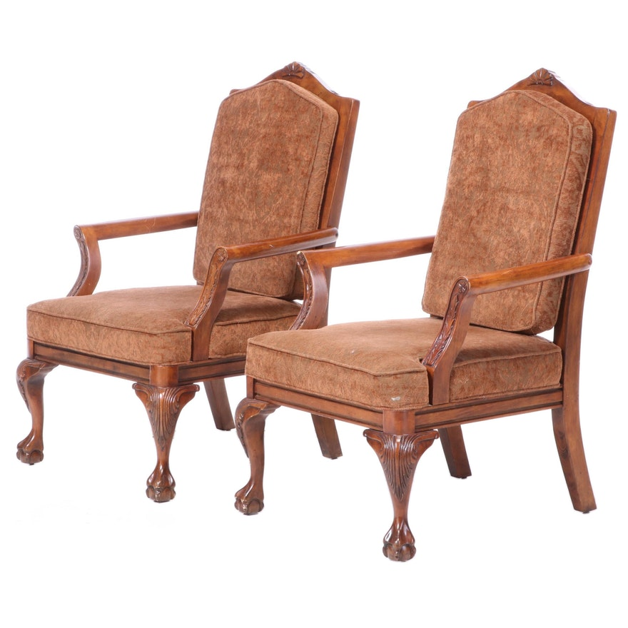 Pair of Klaussner Home Furnishings Chippendale Style Open Armchairs