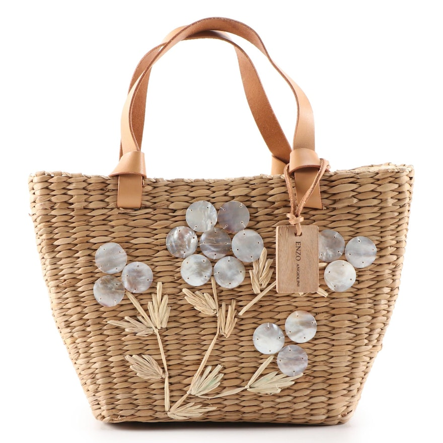 Enzo Angiolini Shell Disc Flower Woven Raffia Basket Bag with Leather Handles