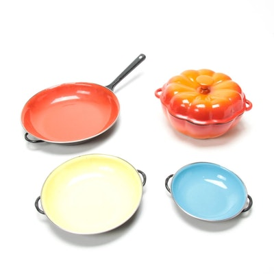 Enamel Cast Iron Pumpkin-Shaped Casserole Dish with Enamel Pans