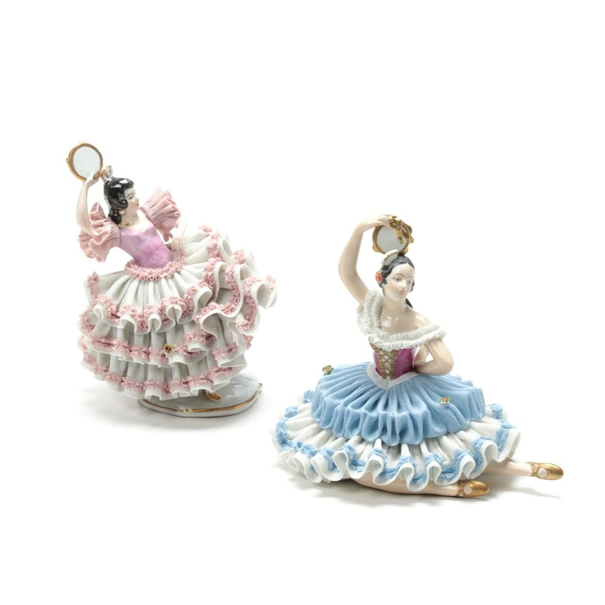 German Dresden Lace Porcelain Figurines, Early to Mid 20th Century
