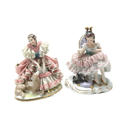 Müller Volkstedt Dresden Lace Porcelain Figurines, Early to Mid 20th Century