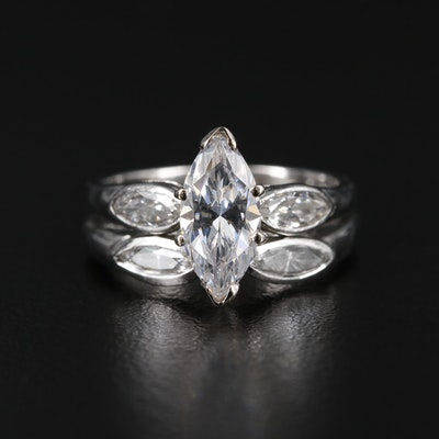 Platinum Diamond Shadow Band and Semi-Mount Ring with Cubic Zirconia Center