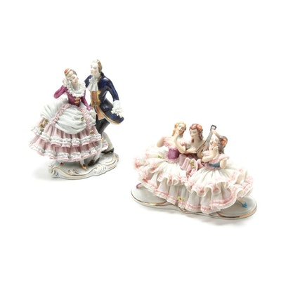 Wilhelm Rittirsch Dresden Lace Porcelain Figurines, Early to Mid 20th Century