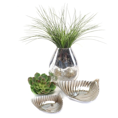 Silver Glass Vase and Bowls with Artificial Succulent and Grass