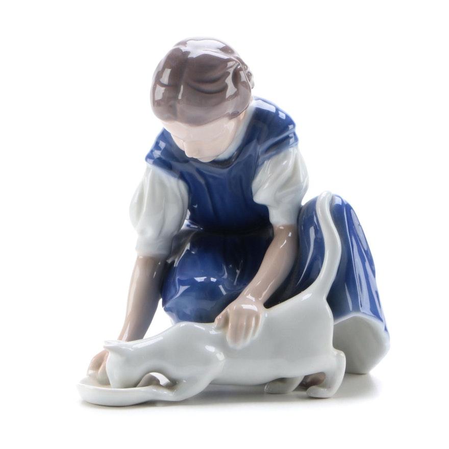 """Bing & Grøndahl """"Girl Feeding Cat"""" Porcelain Figurine, 1970s"""