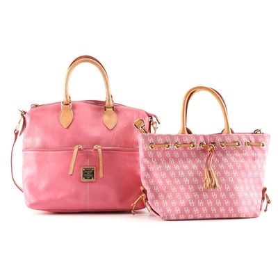 Dooney & Bourke Pink Dillen Double Pocket Satchel and Initials Canvas Tote
