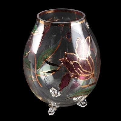 Czechoslovakian Bohemia Crystal Hand-Painted Vase