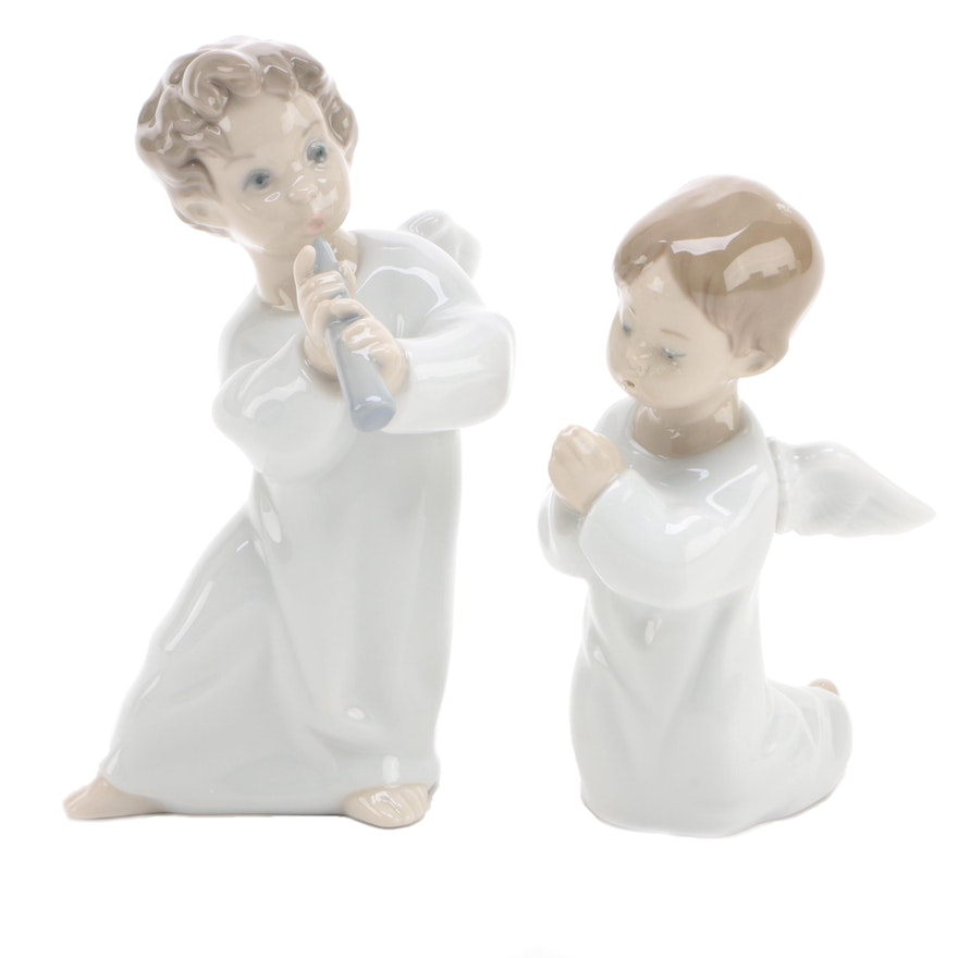 """Lladro """"Angel Pray"""" and """"Angel with Flute"""" Porcelain Figurines, 1980-Present"""
