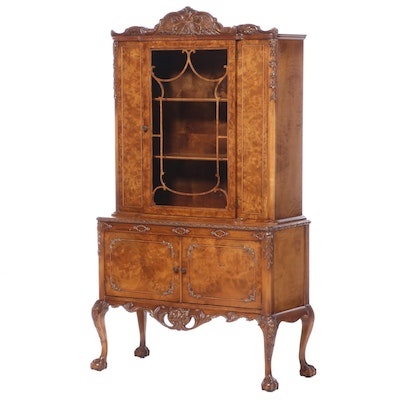George III Style Acacia and Burled Acacia China Cabinet-on-Stand