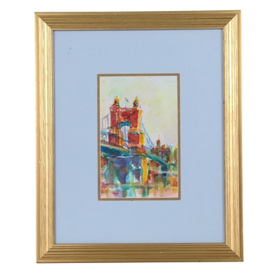 Watercolor Painting of Roebling Bridge, Cincinnati, Ohio