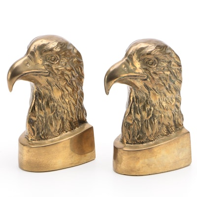 Pair of Brass Eagle Head Bookends, Late 20th Century