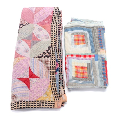 """Handmade Cotton Patchwork """"Melon Patch"""" and """"Log Cabin"""" Quilts"""