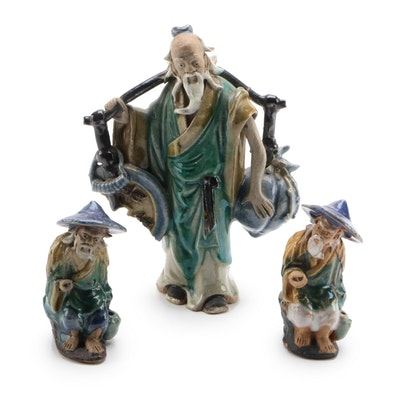 "Chinese Stoneware ""Fishermen"" and ""Water Carrier"" Figurines, Vintage"
