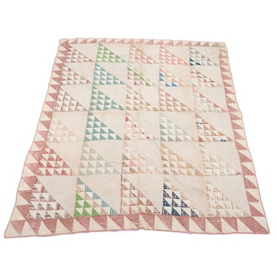 """Handmade Cotton """"Birds in the Air"""" Patchwork Quilt, Early 20th Century"""