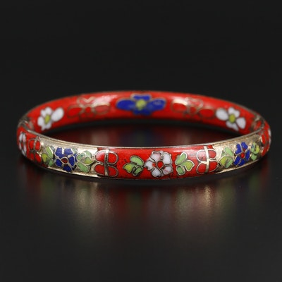 Cloisonné Enamel Hinged Bangle