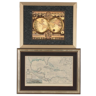 "Pair of Reproduction Maps Including ""A Map of the West-Indies"" After Herman Moll"