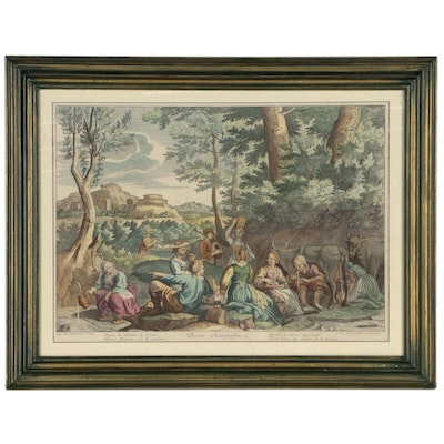 Pastoral Scene Hand-colored Engraving after Claudine Stella Bouzonnet