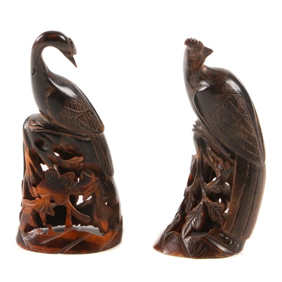 Chinese Carved Horn Bird Figurines