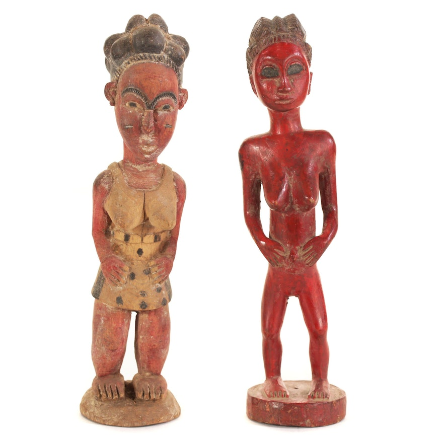 African Baule Style Polychrome Wood Figures