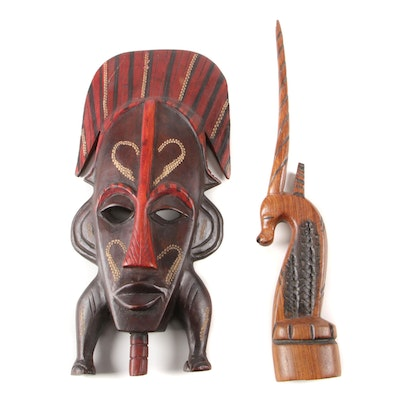 African Carved Wood Polychrome Mask with Gazelle Sculpture
