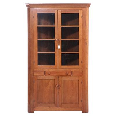 American Primitive Walnut Corner Cupboard with Glazed Doors, 19th Century