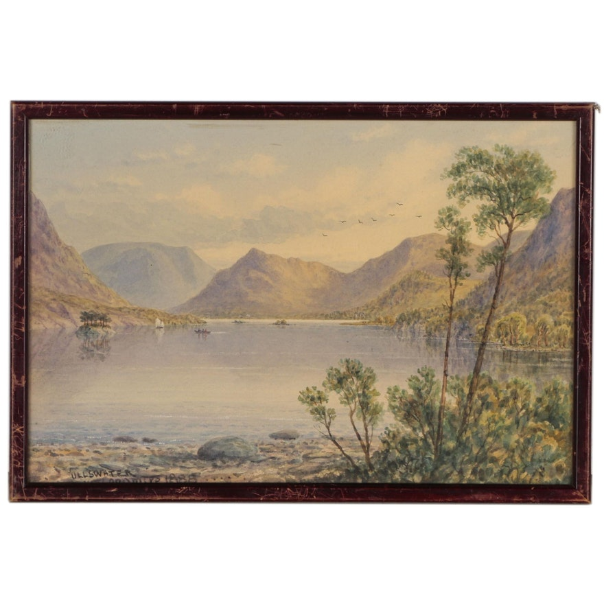 """English Landscape Watercolor Painting """"Ullswater"""", 1888"""