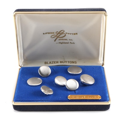Sterling Silver Blazer Buttons from Lipson Potter Jewelers, Vintage