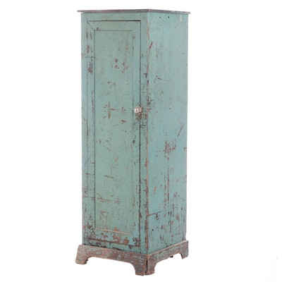 American Primitive Painted Plywood Cabinet with Divided Interior