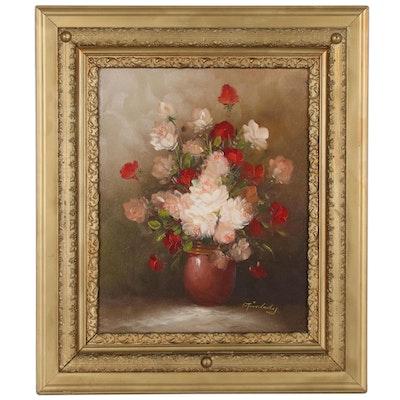 Decorative Floral Arrangement Oil Painting, 21st Century