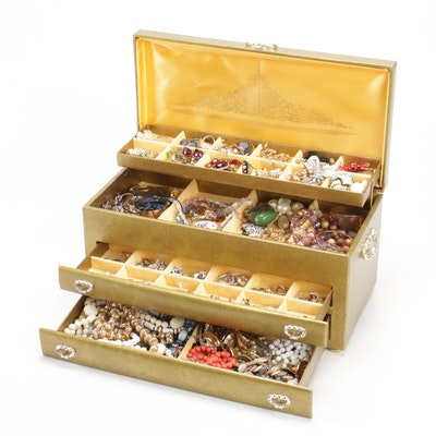 Lady Buxton Double Drawer Jewelry Box with Costume Jewelry