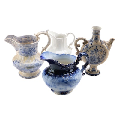 Flow Blue Pitcher with Delft Ewer and Transferware Jug, Antique and Vintage