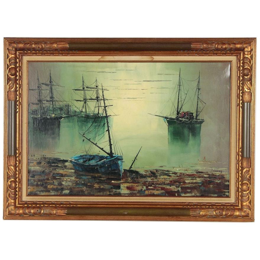 Nautical Scene Oil Painting, Late 20th Century