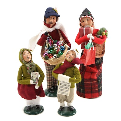 "Byers' Choice Ltd. ""The Carolers"" and ""Traditional Shopper"" Christmas Figurines"