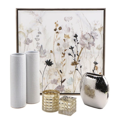 Abstract Floral Embellished Giclée with Vases and Votive Holders