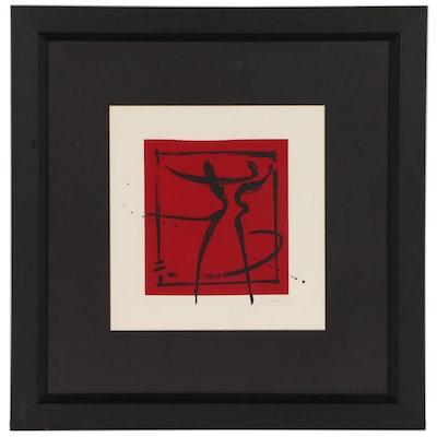 """Alfred Gockel Serigraph Print """"Dance"""""""
