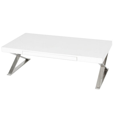 Modernist Style Chromed Metal and White Lacquered Coffee Table