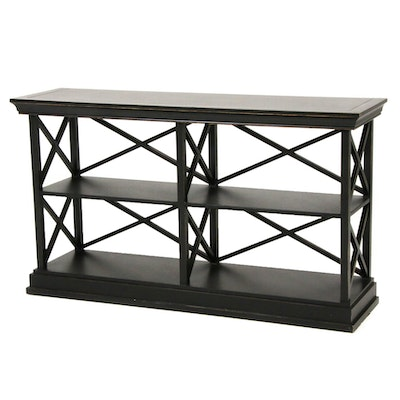 "Ballard Designs ""Bourdonnais"" Ebonized Double Bookcase"