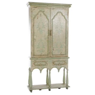 Guild Master William and Mary Style Paint-Decorated Cabinet-on-Stand