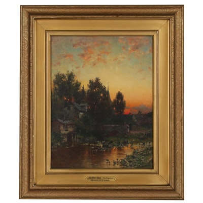 "George Herbert McCord Landscape Oil Painting ""The After Glow, New England"""