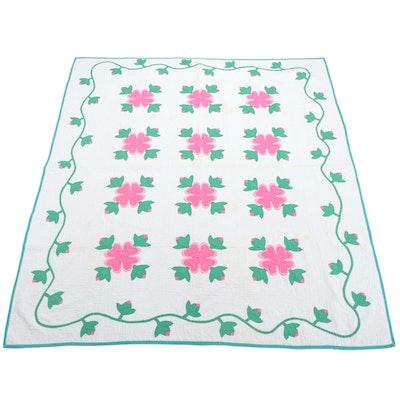 """Hand-Crafted Appliqué """"Ohio Rose"""" Cotton Quilt"""