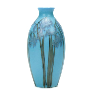 Carrie Steinle Decorated Rookwood Pottery Bluebell Motif Vase, Drilled as a Lamp